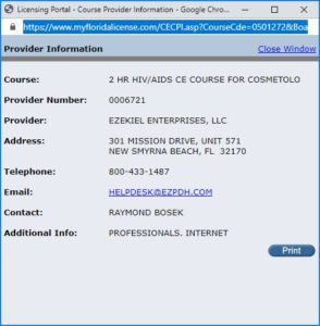 DBPR verification of Florida Cosmetology Board approved course 2HR HIV/AIDS